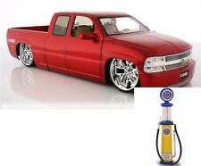 Chevy Diecast Car & Gas Pump Chevy Silverado Pickup Truck Red Jada 63112 1/18