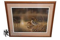 Signed Darrell Davis Ducks Reflection Limited Edition Lithograph Print 43/750