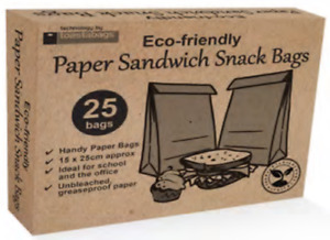 Eco-Friendly Paper Sandwich and Snack Bags x25 | Unbleached Greaseproof Paper
