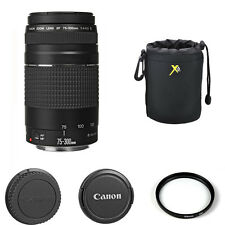 Canon EF 75-300mm f/4-5.6 III AF Zoom Lens + 58mm UV with Pouch for Canon EOS
