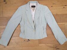 REISS Light Green Striped Wool Linen Blend Lined Jacket @ Size 10 Business