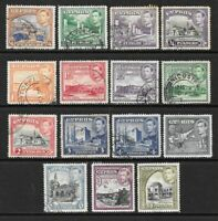 1938 King George VI SG151 to SG160 Set of 15 Stamps Fine Used CYPRUS