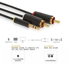 1.5M Multimedia Aux To 2 RCA PHONO to Stereo 3.5mm Mini Jack Audio For iPhone PC