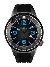 POSEIDON Herren-Armbanduhr XL Slim Analog Silikon UP00390 Schwarz UVP 139,- €