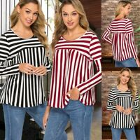 Women's Plus-size Blouse Striped Long-sleeved T-shirt Female Loose Top 2019 New