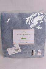 Pottery Barn Classic Belgian Flax Linen blackout drape curtain 108 blue chambray