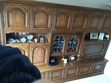 Wall unit in golden oak With Drinks Cupboard and illuminated display cupboard