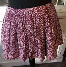 Jack Wills Floral Burgundy Ditsy Skirt Mini Skirt Party Size 55% Silk UK 8