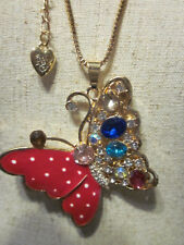 """BETSEY JOHNSON RHINESTONE CRYSTAL BEADS RED BUTTERFLY NECKLACE 26"""" CHAIN"""
