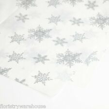 Tissue Paper Christmas White with Silver Snowflake Pattern (48 sheets)