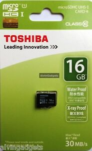 Brand New Toshiba 16GB Micro SD SDHC 30 MB/s Class 10 Flash TF Card Memory Card