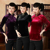 purple black   Chinese style Women's velour Top's T-shirt Sz:6-16
