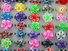 Wholesale Lots Mixed style 100pcs colorful flower polymer clay child rings