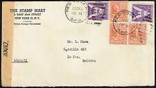 2493 US TO BOLIVIA CENSORED AIR MAIL COVER 1944 NEW YORK - LA PAZ