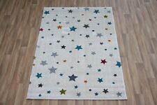 Quality Modern Cream Multi Stars Rug 120cm x 170cm 12mm Star Sergio Thick Rug