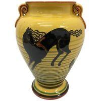 Futurist Italian Yellow Hand-Painted Ceramic Vase, circa 1930