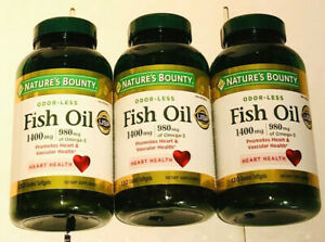 3 Nature's Bounty Fish Oil 1400mg, 980mg of Omega-3, 130 Softgels Each, 390 ct