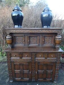 Scottish 19th Century Large Antique Carved Oak Court Castle Cupboard Sideboard