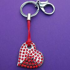Red diamante heart Key Ring -  Free Personalisation