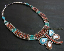 N245 Handmade Tibetan Silver Turquoise Coral resin women gift Necklace NEPAL