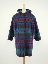 1980s L.L. BEAN Vintage Colorful Wool Blanket Hooded Duffle Overcoat Large L