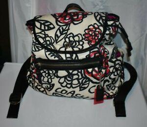 COACH Poppy Daisy Floral Graffiti Black/ White Backpack Bag F16582 Rare NICE