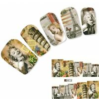 Nagel Sticker Aufkleber Marilyn Monroe Eiffelturm Nail Art Nägel Fuß Water Decal