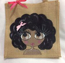 Personalised Handpainted Jute Cute Afro Girl Handbag Bag Name Can Be Added