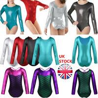 UK Girls Metallic Dance Gymnastics Leotards Kids Mermaid Ballet Bodysuit Costume