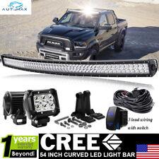 """For 2002-08 Dodge Ram 1500 2500 3500 54"""" Curved LED Light Bar+Rocker Wirings Kit"""