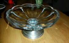 Vintage  Sterling Silver Weighted Glass Pedestal Waive Candy Dish