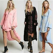 Embroidered Deep V-neck Adjustable Tie Womens Loose High Low Maxi Dress Party