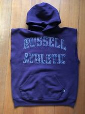 Russell Athletic Hoodie Vintage Sweatshirt Cut Off Sleeves Size Large USA Made