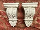 Two Curtain Corbels SCROLL WORK w/ Acanthus Leaf Rod Swag Scarf Holders