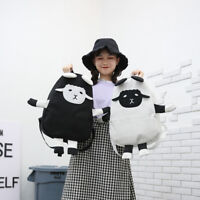 Women Black White Sheep Canvas Shoulder Bag School Bag Female Couple Backpack