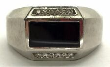 Men's Sterling Silver 925 Black Onyx Rectangle Inlay CZ Matte Illusion Band Ring