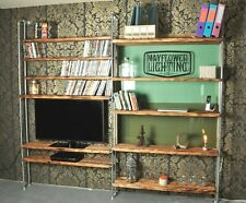 Industrial Pipe Solid Wood Shelf Unit Vintage Steampunk Style - Books - Media TV