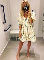 H&M SS2019 TREND POPLIN PATTERNED COTTON LEMONS DRESS BLOGGERS SOLD OUT HOLIDAYS