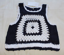 Zara Trafaluc Collection Ladies Navy White Crochet Cropped Top Size S