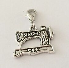 SILVER SINGER SEWING MACHINE CLIP ON CHARM FOR BRACELETS -TIBETIAN SILVER - NEW