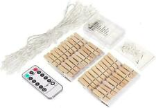40 Led Wooden Photo Clip Fairy Light String Lights Remote Timer