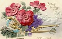 "Antique EMBOSSED 1908 ""BIRTHDAY GREETINGS"" Airbrush Red Purple Blue Flowers PC"
