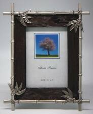 3½ x 5 Wood Frame Bamboo Pewter Border Item # 1030. ROCKET FAST SHIPPING !!