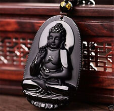 Black Classic Obsidian Carved Buddha Pendant Collection Gift For Men Lady
