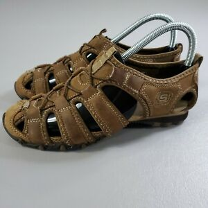 Skechers Leather Sandals Womens 6.5 Brown Bikers Excursions Slip On Sports Shoes