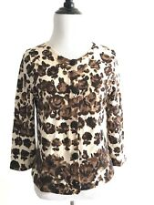 J Crew Womens Button Down Sweater Size M Brown Wool 3/4 Sleeves Floral Crewneck