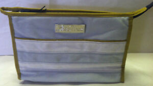 Lela Rose Beauty Makeup Cosmetic Bag -Cotton Canvas Gray/White Striped Brand New