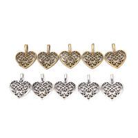50Pcs Tibetan Silver Bronze Filigree Heart Charms Pendants DIY Jewelry Making LF