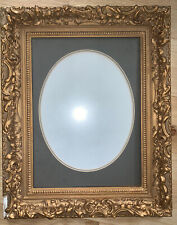 Antique Gold Gesso Ornate Picture Frame Matted With Oval Opening