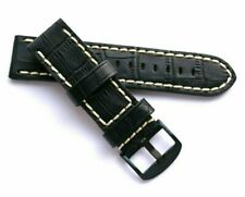 24mm Black Leather Contrast Stitch Replacement Watch Band Black Buckle - Invicta